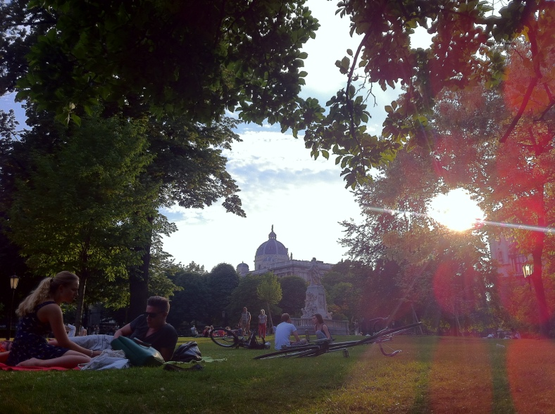 The park, where we sat and talked well into the evening, not far from the market with those fresh raspberries. (Vienna, Austria)